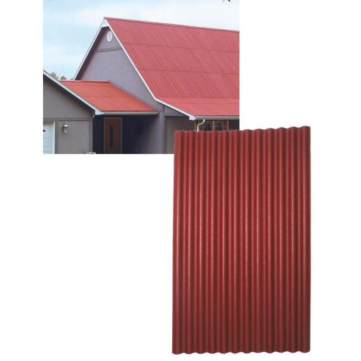 Ondura 48 In. x 79 In. Organic Fiber Core & Asphalt Red Ondura Corrugated Roofing Panels