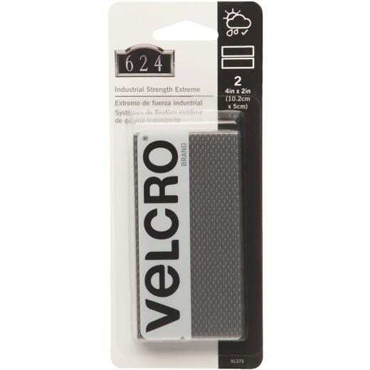 VELCRO Brand Industrial Strength Extreme Black 2 In. x 4 In. Adhesive Hook & Loop Strip (2 Ct.)