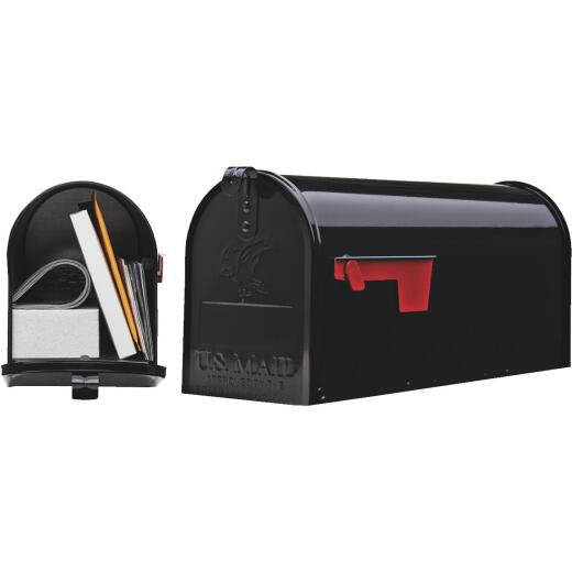 Gibraltar Elite Series T1 Black Steel Rural Post Mount Mailbox