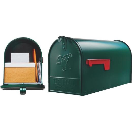 Gibraltar Elite T2 Large Green Steel Rural Post Mount Mailbox