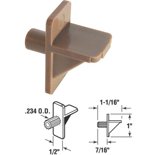 Prime-Line 1/4 In. Brown Styrene Shelf Support (8 Count)