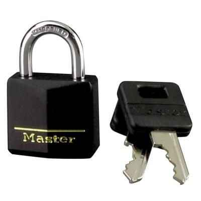 Master Lock 1-3/16 In. W. Black Covered Keyed Different Padlock