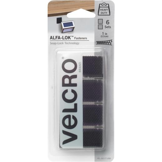 Velcro Brand Alfa-Lok 1 In. x 3 In. 15 Lb. Capacity Black Square Tape Strip (4 Sets)