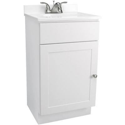 Design House White 18 In. W x 31-1/2 In. H x 16 In. D Combo Vanity with Cultured Marble Top