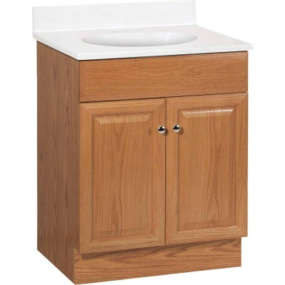 Continental Cabinets Richmond Oak 24-1/2 In. W x 35-1/4 In. H x 18-1/2 In. D Vanity with Cultured Marble Top