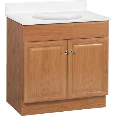 Continental Cabinets Richmond Oak 30-1/2 In. W x 35-1/4 In. H x 18-1/2 In. D Vanity with Cultured Marble Top