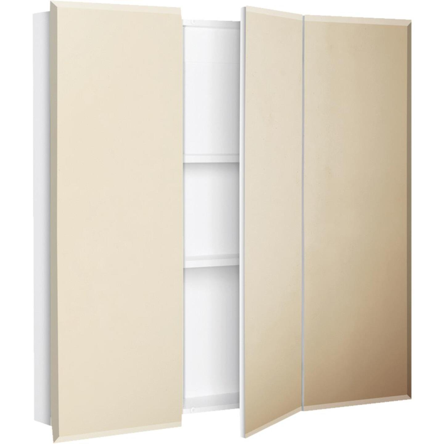 Continental Cabinets Frameless Beveled 30 In. W x 29-3/4 In. H x 4-1/4 In. D Tri-View Surface Mount Medicine Cabinet Image 2