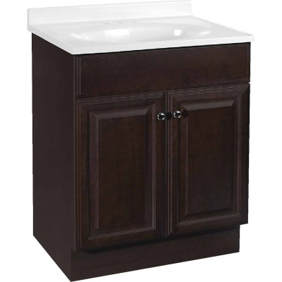 Continental Cabinets Richmond Java 24-1/2 In. W x 35-1/4 In. H x 18-1/2 In. D Vanity with Cultured Marble Top