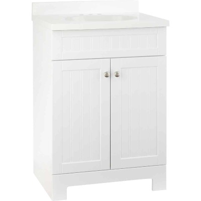 Continental Cabinets Edgewater White 25 In. W x 37-1/2 In. H x 18-1/2 In. D Vanity with Cultured Marble Top