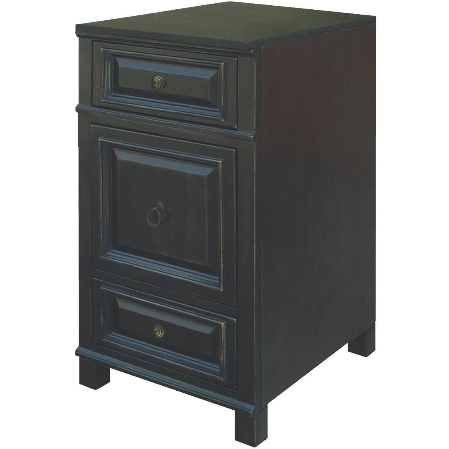 Sunny Wood Barton Hill 18 In. W x 34 In. H x 21 In. D Black Onyx Linen Cabinet Base Image 1