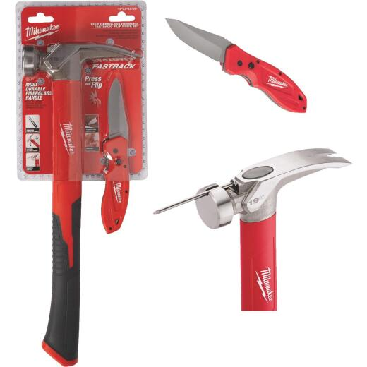 Milwaukee 19 Oz. Claw Hammer and FASTBACK Pocket Knife Combo Tool Set (2-Piece)