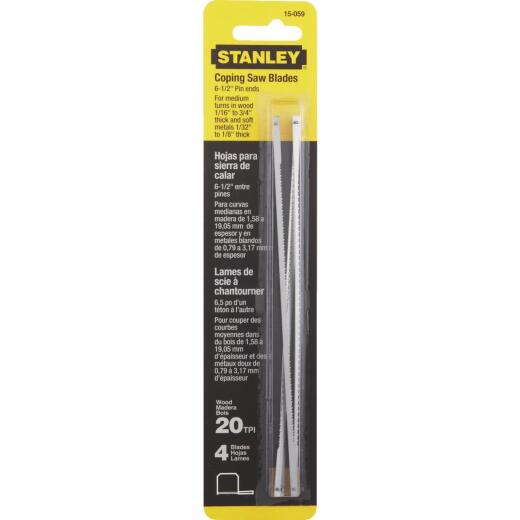 Stanley 6-1/2 In. 20 TPI Coping Saw Blade (4-Pack)