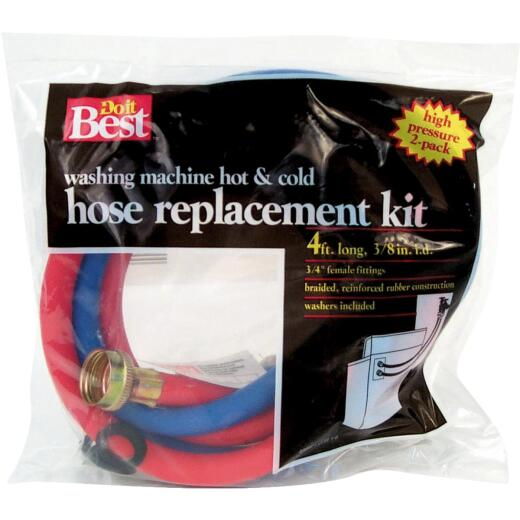 Do it Best 3/8 In. x 4 Ft. ReReinforced EPDM Rubber Washing Machine Hose (2-Pack)