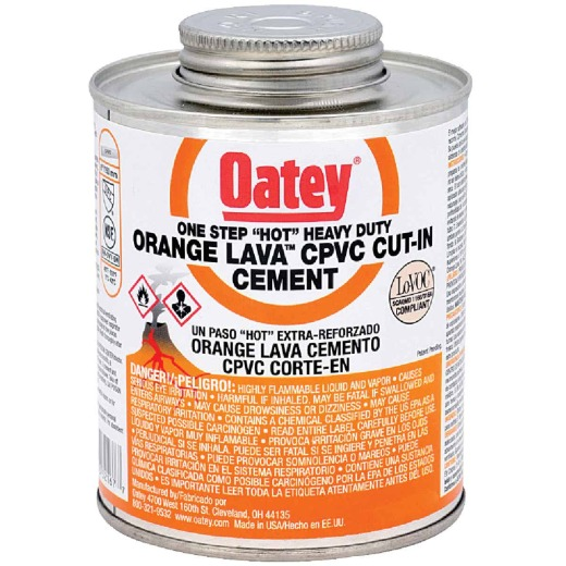"Oatey 8 Oz. Orange Lava One-Stop ""Hot"" Heavy-Duty CPVC Cement"