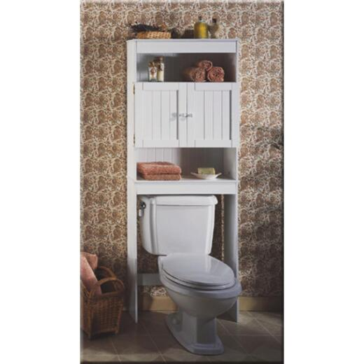 Zenith Country Cottage White Over-the-Toilet Cabinet, 2 Door/3 Shelf