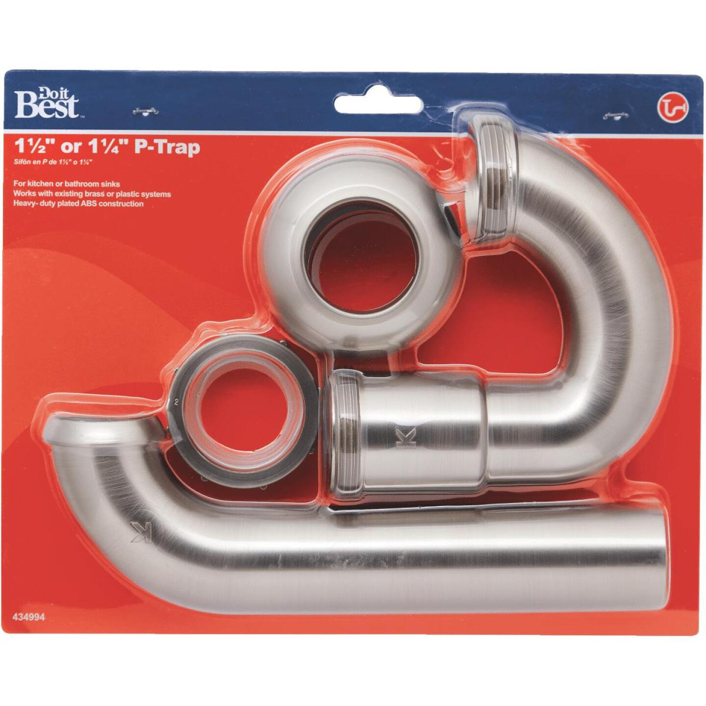 Do it Best 1-1/2 x 1-1/2 In. or 1-1/2 x 1-1/4 In. Brushed Nickel ABS P-Trap Image 2