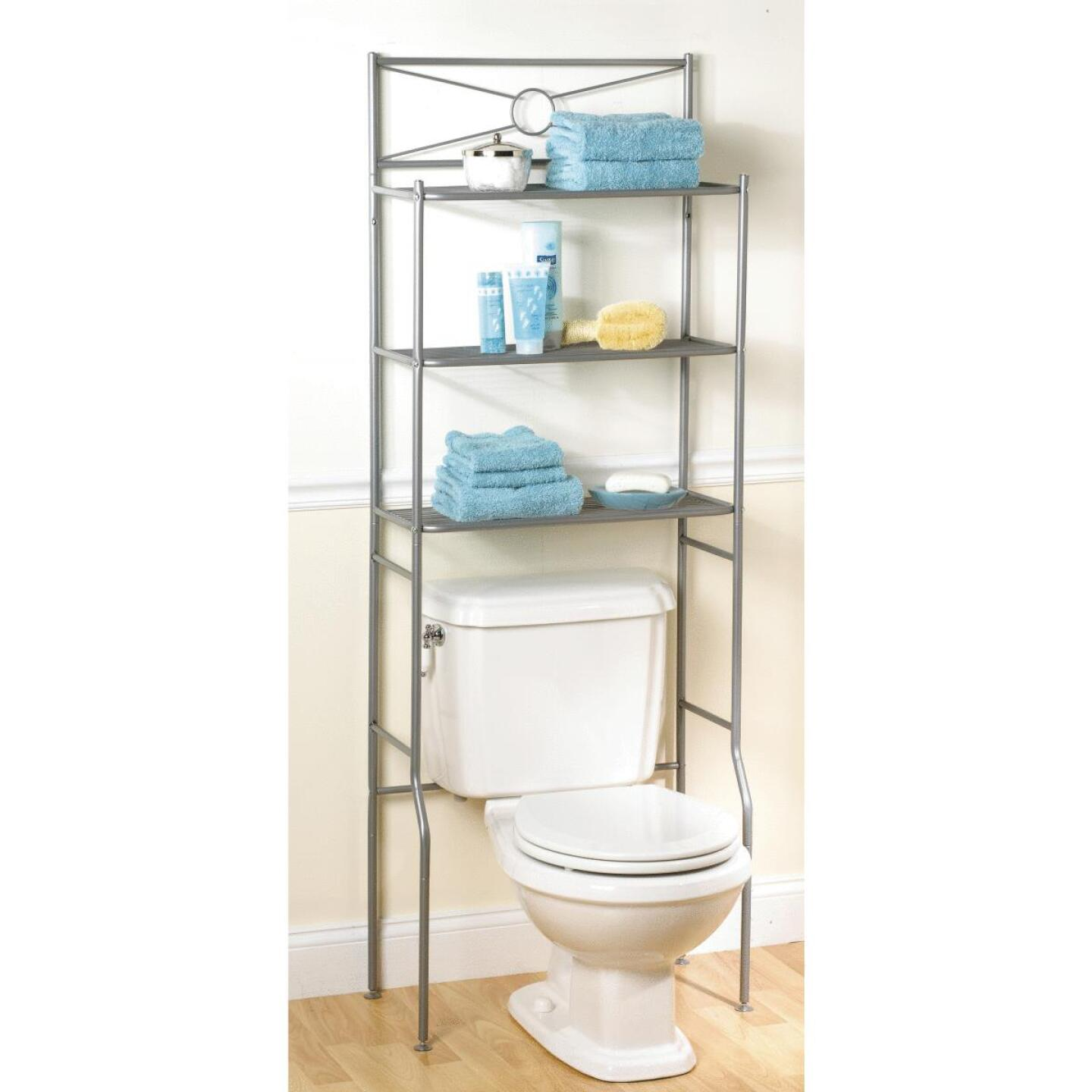 Zenith Spacesaver Satin Nickel Over-the-Toilet Shelf Cabinet, 3 Shelf Image 1