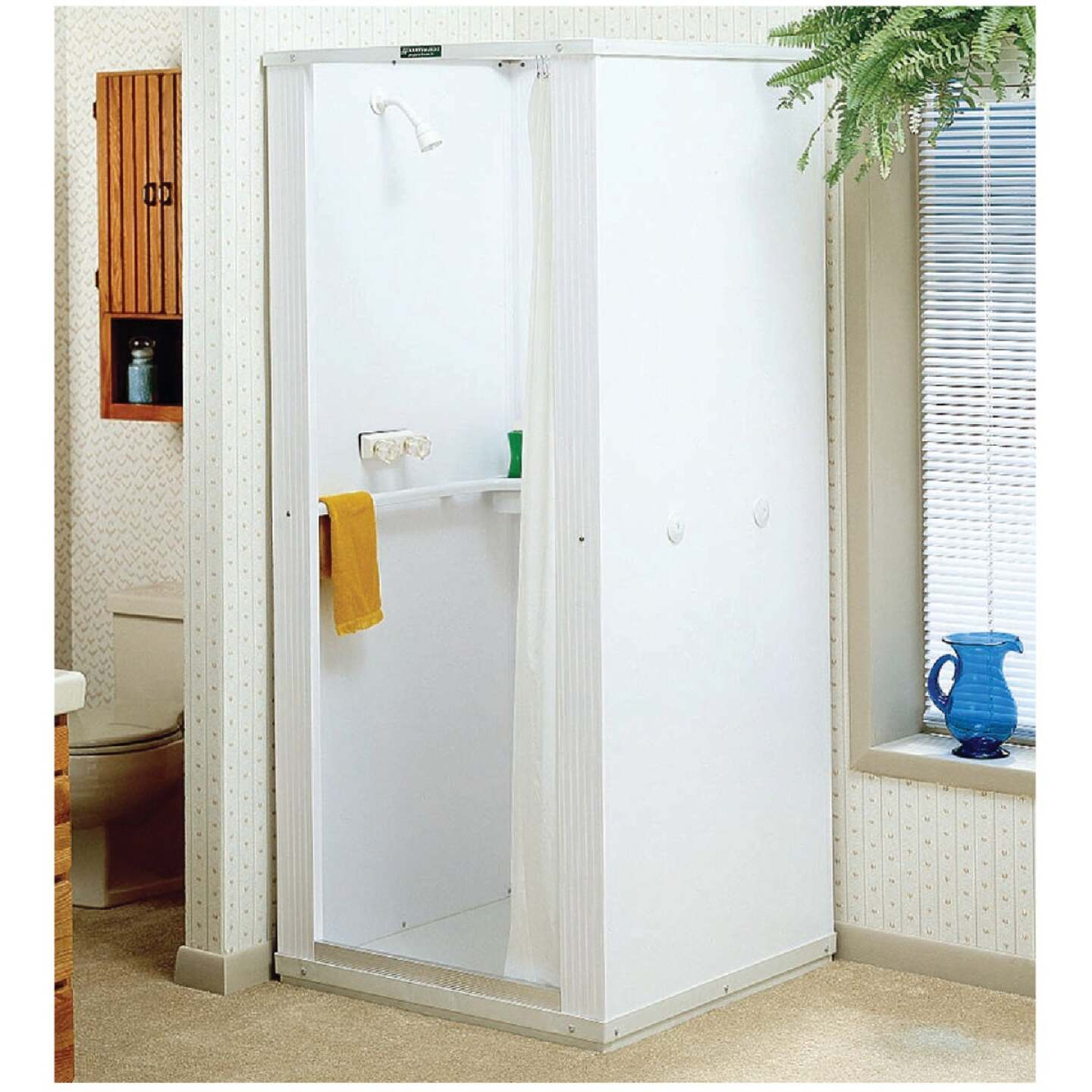 Mustee Durastall 32-5/8 In. x 32-5/8 In. x 75-3/8 In. White Co-polymer Plastic Shower Stall Image 1