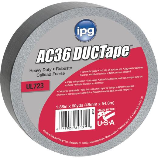 Intertape AC36 DUCTape 1.88 In. x 60 Yd. HD Contractor Grade Duct Tape, Silver