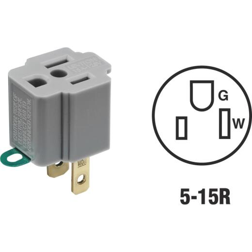 Leviton 15A 125V Gray Grounding Cube Tap Outlet Adapter (2-Pack)