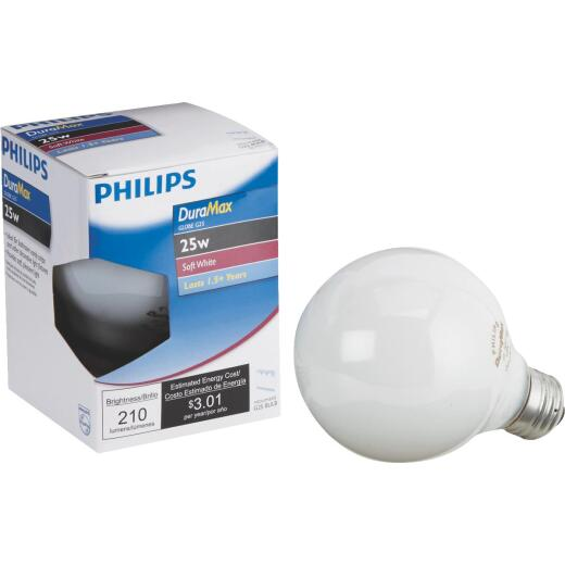 Philips DuraMax 25W Frosted Soft White Medium G25 Incandescent Globe Light Bulb