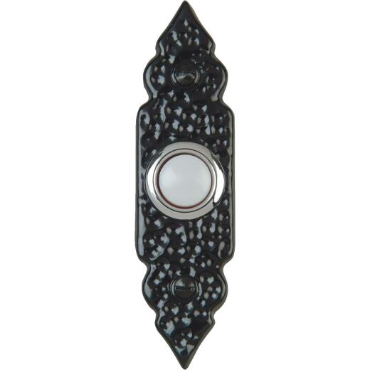 IQ America Wired Antique Black Lighted Doorbell Button