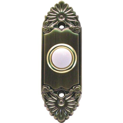 IQ America Wired Antique Brass Scroll Lighted Doorbell Button