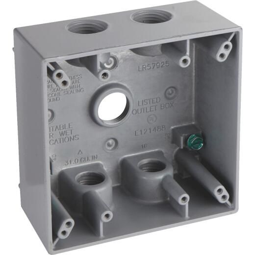 Bell 2-Gang 1/2 In. 5-Outlet Gray Aluminum Weatherproof Outdoor Outlet Box, Shrink Wrapped