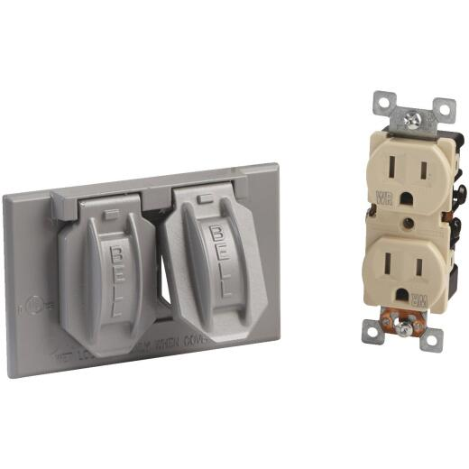 Bell Single Gang Horizontal Mount Die-Cast Metal Gray Weatherproof & Tamper Resistant Outdoor Outlet Cover