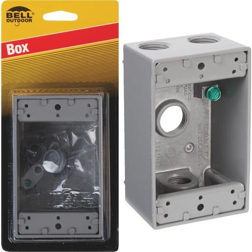 Bell Single Gang 1/2 In. 4-Outlet Gray Weatherproof Die-Cast Aluminum Outdoor Outlet Box