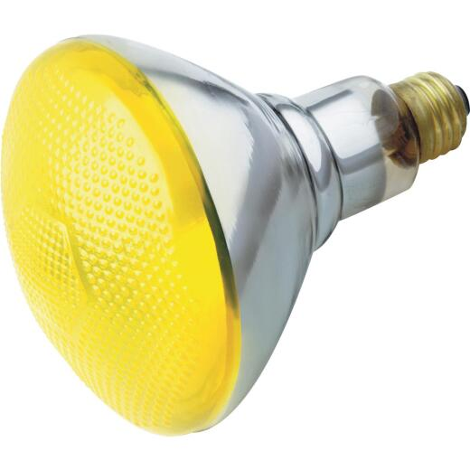 Satco 100W Yellow Medium Base BR38 Incandescent Bug Floodlight Bulb