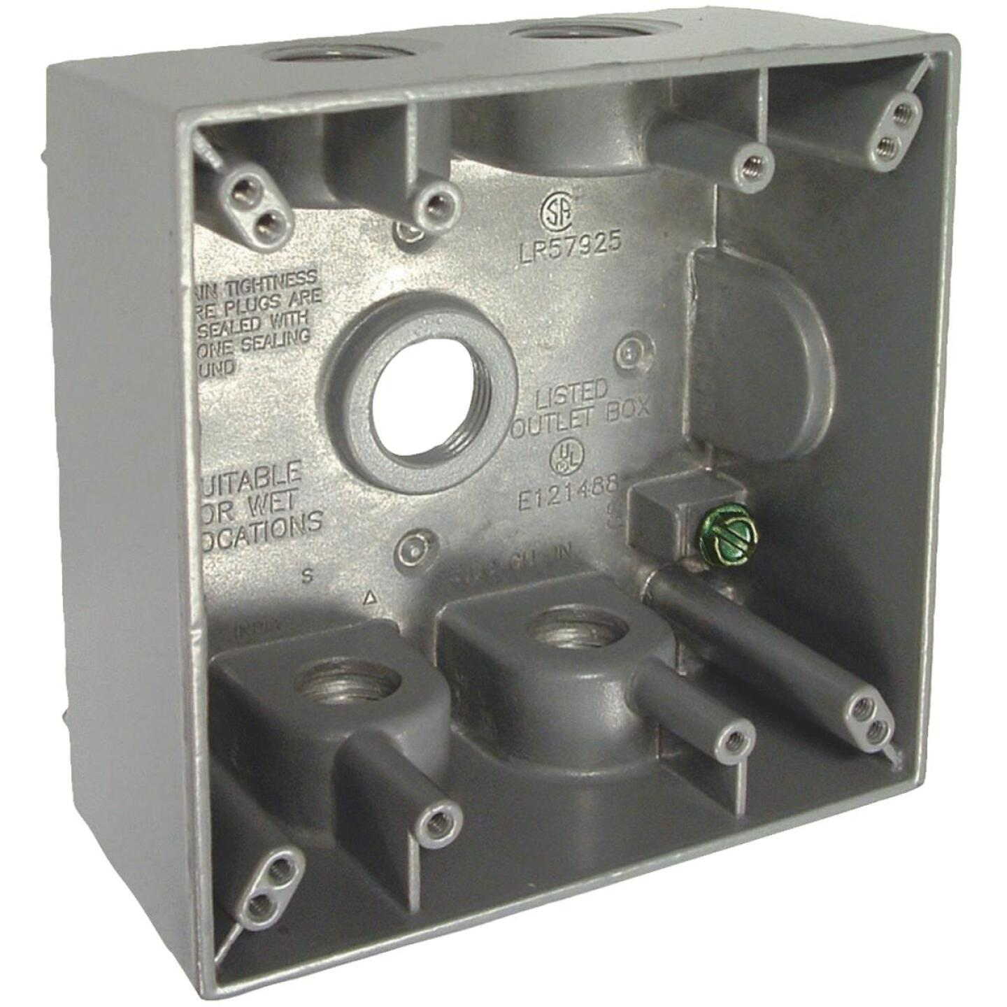 Bell 2-Gang 1/2 In. 5-Outlet Gray Aluminum Weatherproof Outdoor Outlet Box, Carded Image 1