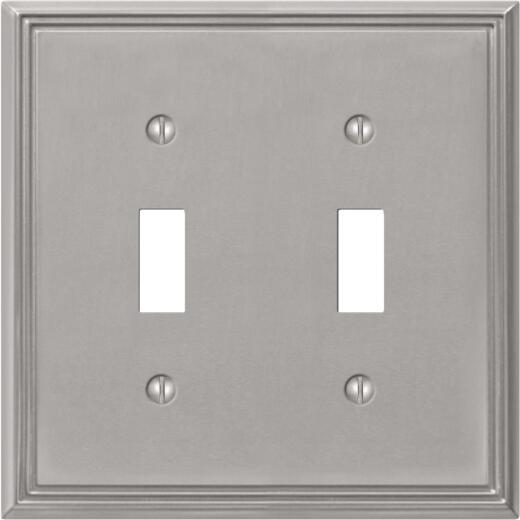 Amerelle Metro Line 2-Gang Cast Metal Toggle Switch Wall Plate, Brushed Nickel