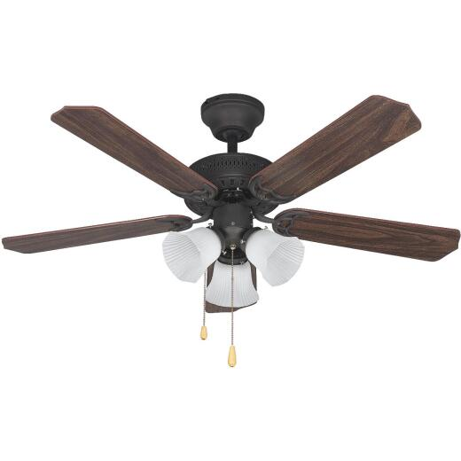 Home Impressions Tradition 42 In. Oil Rubbed Bronze Ceiling Fan with Light Kit