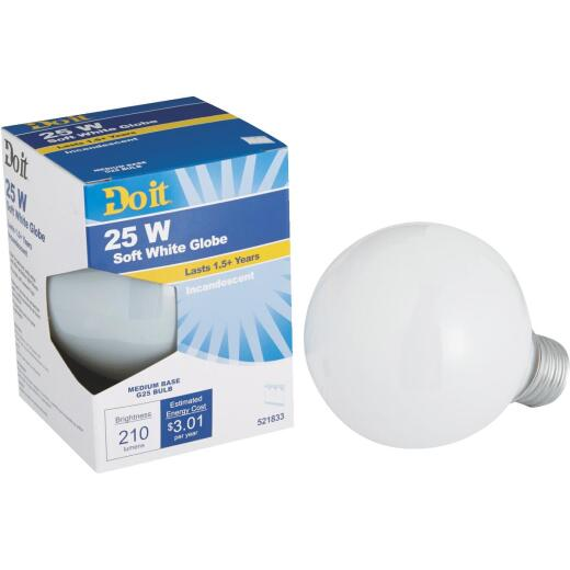 Do it 25W Frosted Soft White Medium Base G25 Incandescent Globe Light Bulb