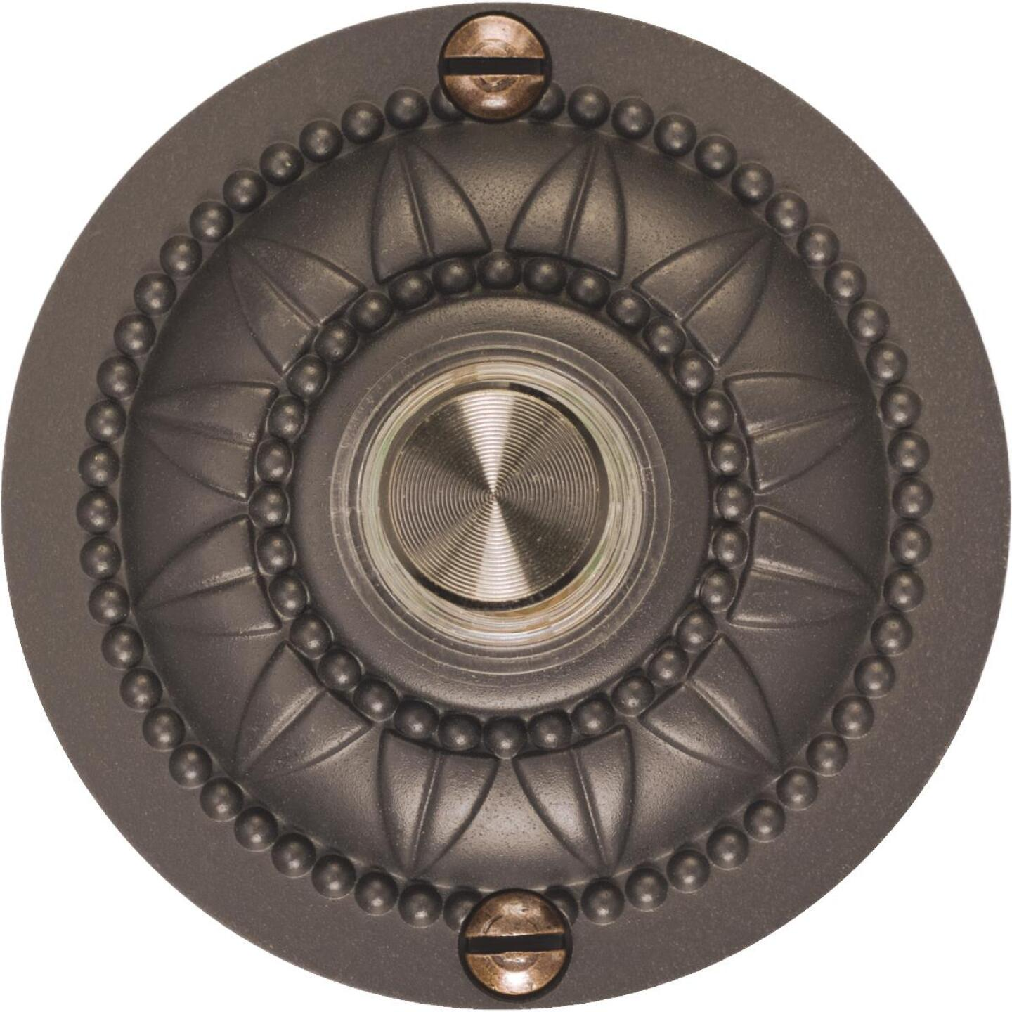 IQ America Wired Oil Rubbed Bronze Medallion Design Lighted Doorbell Push-Button Image 1