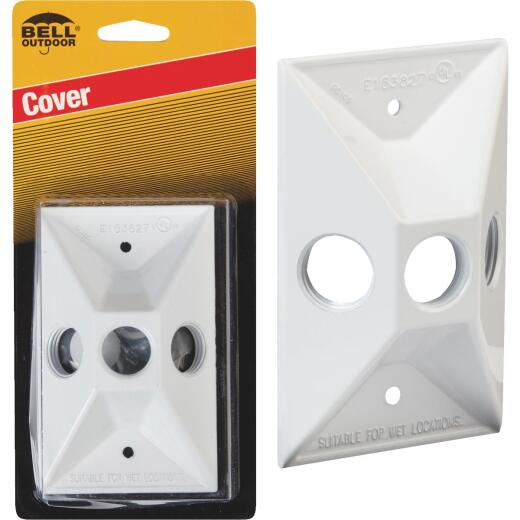 Bell 3-Outlet Rectangular Zinc White Cluster Weatherproof Outdoor Box Cover, Carded