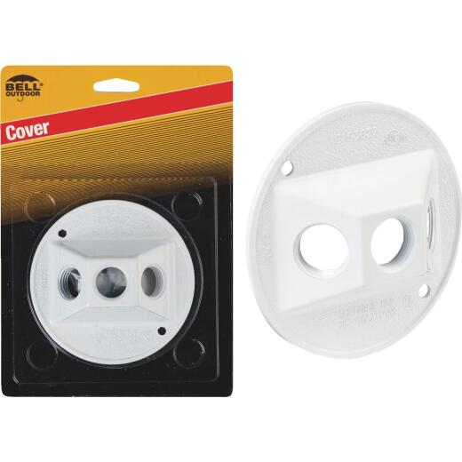 Bell 3-Outlet Round Zinc White Cluster Weatherproof Outdoor Box Cover, Carded