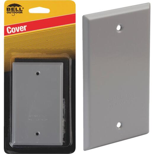 Bell Single Gang Rectangular Aluminum Gray Blank Weatherproof Outdoor Box Cover, Carded