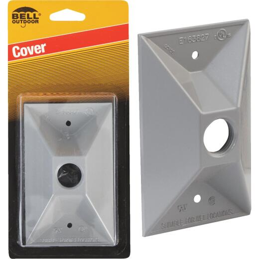 Bell 1-Outlet Rectangular Zinc Gray Cluster Weatherproof Outdoor Box Cover, Carded