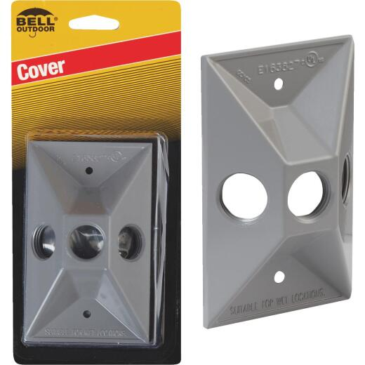 Bell 3-Outlet Rectangular Zinc Gray Cluster Weatherproof Outdoor Box Cover, Carded