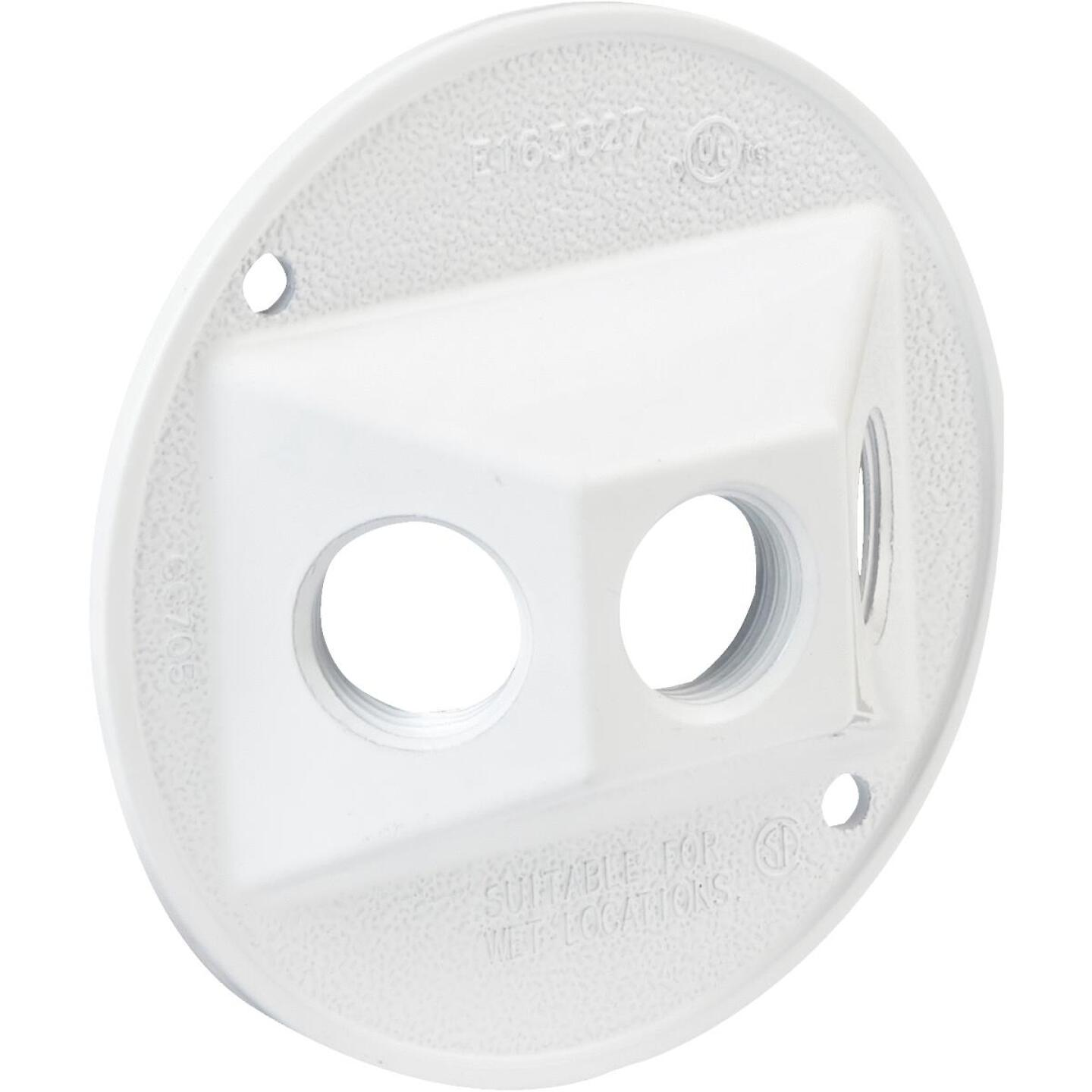 Bell 3-Outlet Round Corrosion Resistant Zinc White Weatherproof Outdoor Box Cover Image 1