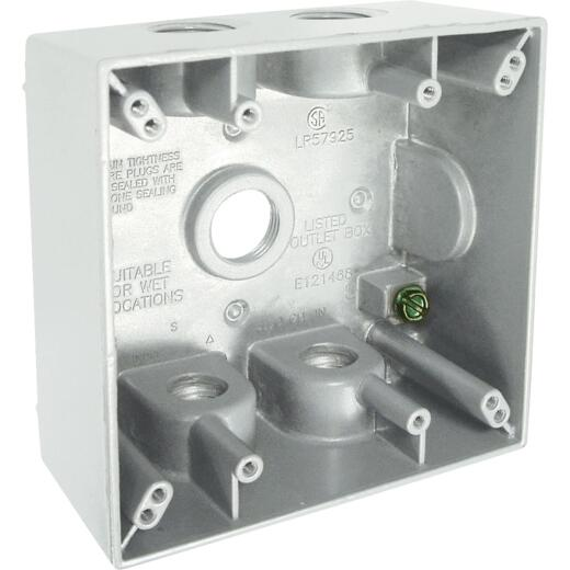 Bell 2-Gang 1/2 In. 5-Outlet White Aluminum Weatherproof Outdoor Outlet Box, Shrink Wrapped