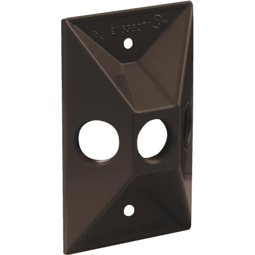 Bell 3-Outlet Rectangular Zinc Bronze Cluster Weatherproof Electrical Outdoor Box Cover, Shrink Wrapped
