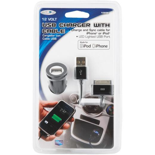 Custom Accessories 12V Mini USB Black Car Charger & Cable