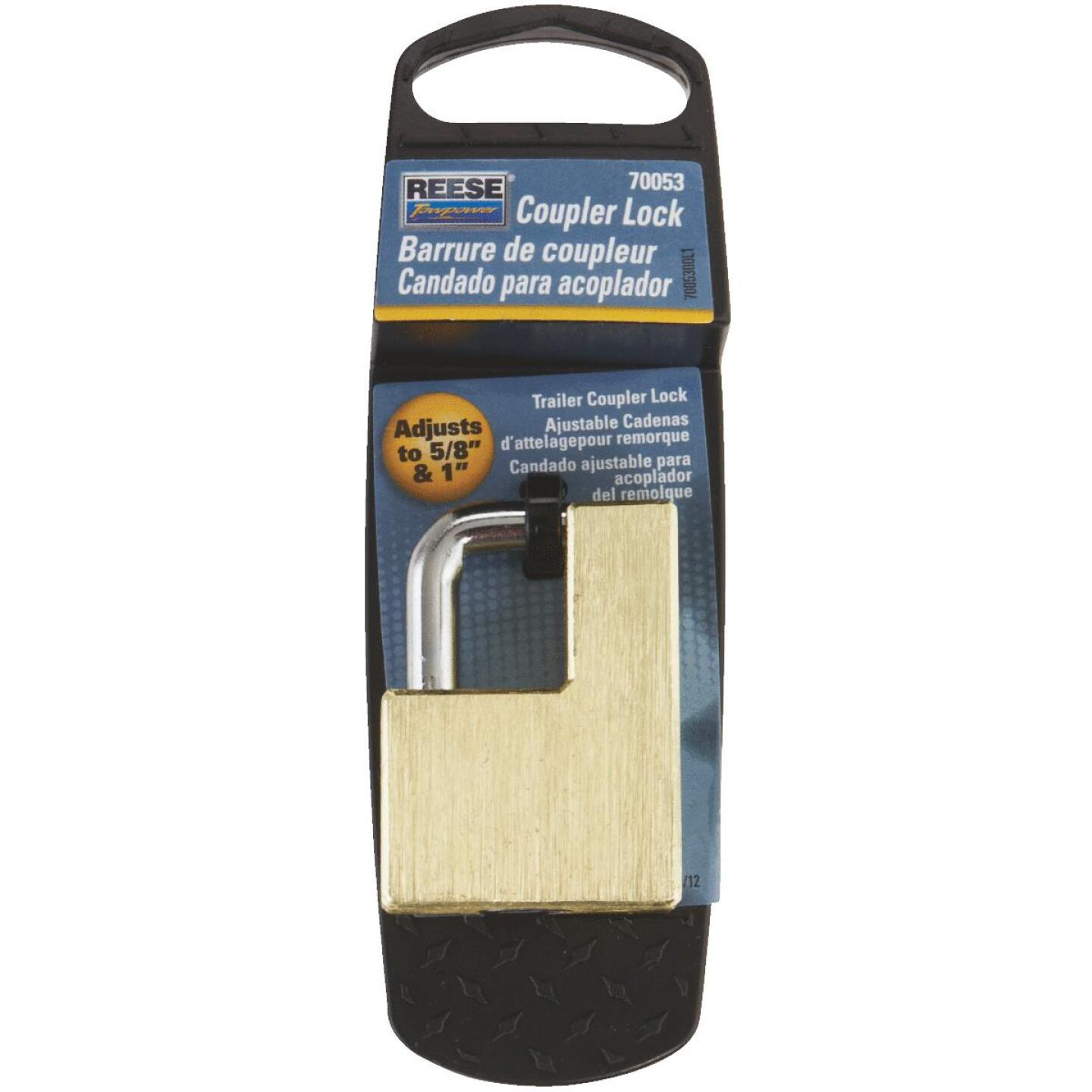 Reese Towpower Brass Adjusts 5/8 In. to 1 In. Latch Coupler Lock Image 1
