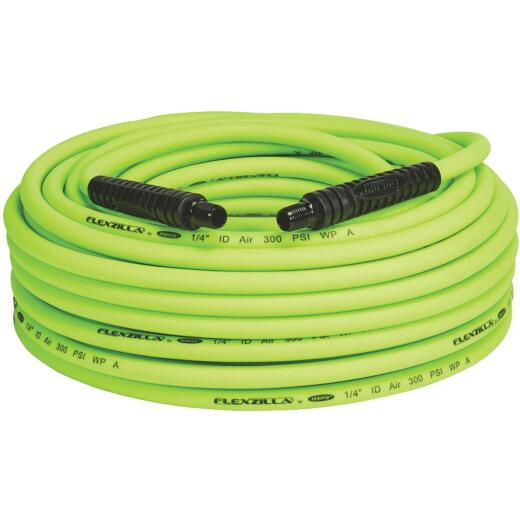 Flexilla 1/4 In. x 100 Ft. Polymer-Blend Air Hose with 1/4 In. MNPT Fittings
