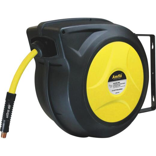 Amflo UltraAir Automatic Air Hose Reel with 3/8 In. x 50 Ft. Hybrid Hose