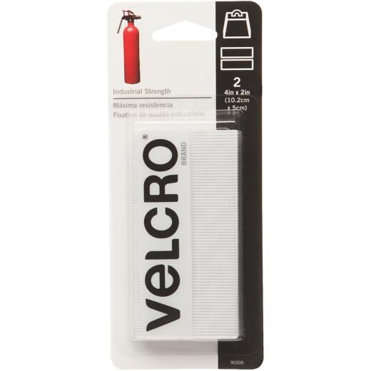 VELCRO Brand 2 In. x 4 In. White Industrial Strength Hook & Loop Strip (2 Ct.)