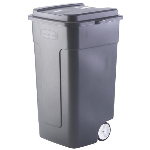 Rubbermaid 50 Gal. Black Wheeled Trash Can with Lid